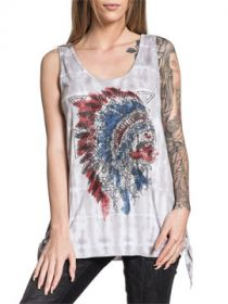 Affliction American Customs Painted Horse Indian Chief Skull Feather Headdress Open Tie Sides Womens Tank Top in White & Grey Cactus Wash