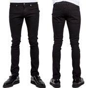 Trash & Vaudeville Thrash Metal Rocker Mens 5 Pocket Skinny Fit Stretch Twill Denim Jeans Pants in Solid Black - SIZES 28-36
