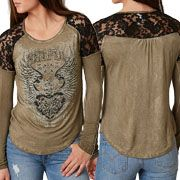 Sinful Lita Creek Heart Angel Wings Filigree Rhinestones Black Lace Accents Stretch Rayon Womens Long Sleeve Scoop Neck T-Shirt in Brown - SIZES XS-XL