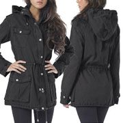 Buffalo David Bitton Anorak Military Light Weight Womens Dual Zipper Button Up Parka Jacket Hoodie in Black - SIZES M-XL LEFT
