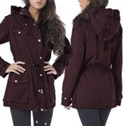 Buffalo David Bitton Anorak Military Light Weight Womens Dual Zipper Button Up Parka Jacket Hoodie in Sangria Purple Red - SIZES M-XL LEFT