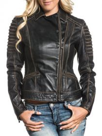Affliction True Destiny Eyelets Tailored Biker Moto Military Womens Long Sleeve Dual Zipper Button Up Genuine Leather Jacket in Black - SIZES XS-XL