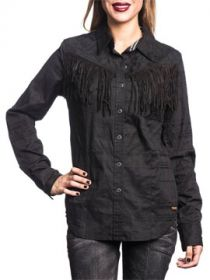 Affliction Rock & Fringe Crosses Swirl Filigree Rhinestones Womens Long Sleeve Button Up Woven Dress Shirt in Black - SIZES XS-XL