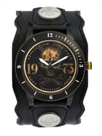 Affliction Live Fast Born Free Skull 73 Wrenches Stars Motorcycle Biker Metal Garage Genuine Leather Band Cuff Mens Watch in Black & Gold