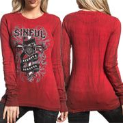 Sinful Always Forever Eloise Ornate Cross Heart Banner Tattoo Filigree Striped Pattern Womens Long Sleeve Thermal Shirt in Red - SIZE SMALL