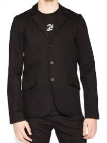 Tripp NYC Top Cat Punk Metal Rocker Stretch Mens Long Sleeve Button Up Blazer Jacket in Solid Black - SIZE MEDIUM