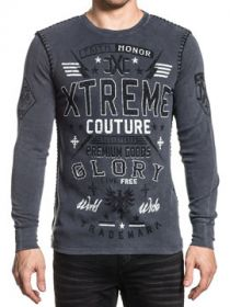 Xtreme Couture Live Free Faith Honor Glory Word Collage Cross Eagles Stars Stripes UFC MMA Mens Long Sleeve Thermal in Charcoal Grey - SIZES S-XXL