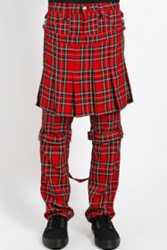 Tripp NYC Double Bumflap Kilt Buckles Bondage Straps D-Rings Stretch Adjustable Fit Mens Slim Skinny Jeans Pants in Red Plaid - SIZE 32