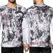 Xtreme Couture Bravado Mohawk Skulls Scrolls Punk Distressed Red Foil UFC MMA Mens Long Sleeve Thermal Shirt in White - SIZES M-XL