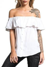 Affliction Sydney Off Shoulder Ruffle Rose Rhinestones Womens Short Sleeve Button Up Woven Shirt in White - SIZES XS-XL