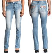 Affliction Jade Aries Pink Indian Southwestern Rhinestones Pockets Metal Studs Premium Denim Womens Bootcut Jeans in Light Blue Ember - SIZES 24-32