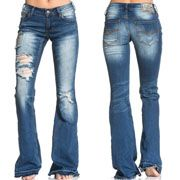 Affliction Ginger Rising Patchwork Bleach Destroy Holes A Pocket Premium Denim Womens Bell Bottom Flare Jeans in Blue Venice - SIZES 24-28