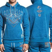 American Fighter Premium Athletics Bristow Eagle Shield Flag Mens Long Sleeve Pull Over Hoodie in Blue & White Side Stripes - SIZES S-3X