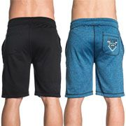 American Fighter Knockout Mens Drawstring Tie Waist Knee Length Sweat Shorts in Black & Blue - SIZES M-3X REVERSIBLE 2 DESIGNS 1 SHORT