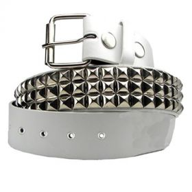 Hard Wear Three Row Silver Pyramid Metal Studs Silver Grommets Unisex Leather Belt in White - SIZES L-XL