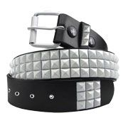 Hard Wear Three Row White Pyramid Metal Studs White Grommets Unisex Leather Belt in Black - SIZE XL LEFT