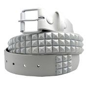 Hard Wear Three Row White Pyramid Metal Studs Unisex Leather Belt in White - SIZES S XL XXL LEFT