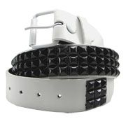 Hard Wear Three Row White Pyramid Metal Studs Unisex Leather Belt in White - SIZES S & XL LEFT