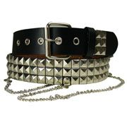 Hard Wear Three Row Silver Pyramid Metal Studs Metal Chains Unisex Genuine Leather Belt in Black - SIZES S & XXL LEFT