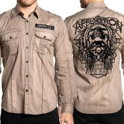 Affliction American Customs Profuse Indian Chief Skull Headdress Mens Long Sleeve Button Up Woven Dress Shirt in Khaki Tan Brown - SIZES M-XL