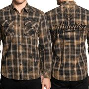 Affliction American Heritage Resonate USA Flag Home Of The Brave Mens Long Sleeve Button Up Woven Dress Shirt in Black Plaid - SIZE LARGE
