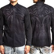 Affliction Live Fast Afterlife Ghostly Grim Reaper Skulls Rhinestones Mens Long Sleeve Button Up Woven Dress Shirt in Charcoal Grey - SIZES S-3X