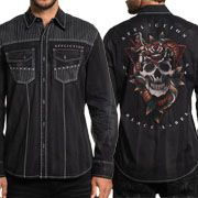 Affliction Tattoo Cobra Skull Snake Roses Rhinestones White Stitching  Mens Long Sleeve Button Up Woven Dress Shirt in Black - SIZES S-3X