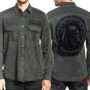 Affliction American Customs Motor Spirit Indian Chief Skull Headdress Mens Long Sleeve Button Up Dress Shirt in Olive Green - SIZES S-3X