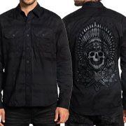 Affliction Black Label Lineage Indian Chief Skull Headdress Dagger Roses Mens Long Sleeve Button Up Woven Dress Shirt in Black Plaid - SIZES S-3X