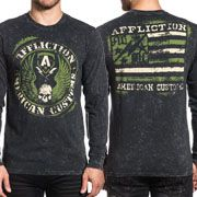 Affliction American Customs ACMC Flag Winged Skull Motorcycle Biker Mens Long Sleeve Crew Neck T-Shirt in Black - SIZES S-4X