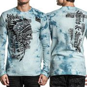 Affliction Renegade Blackpool Outlaws Indian Chief Skull Headdress Rhinestones Mens Long Sleeve Thermal in Blue Tie Dye - SIZES M-3X