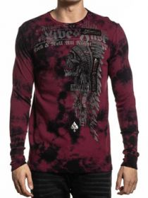 Affliction Renegade Brixton Tribe Rock & Roll Indian Skull Headdress Sewn Patches Foil Mens Long Sleeve Thermal in Red Black Tie Dye - SIZES S-4X