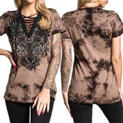 Affliction Sistine Cross Angel Wings Filigree Rhinestones Corset Lace Up Womens Short Sleeve V-Neck T-Shirt in Brown Taupe Tie Dye - SIZES XS-XL