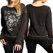 Affliction American Metal Tour Wildflower Daze Deconstructed Womens Long Sleeve Scoop Neck Pull Over Sweatshirt in Black Brown - SIZES S-XL