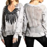 Affliction South Feathers Deconstructed Crochet Lace Panel Back Womens Long Sleeve V-Neck Pull Over Sweatshirt in Grey Flume - SIZES S-L