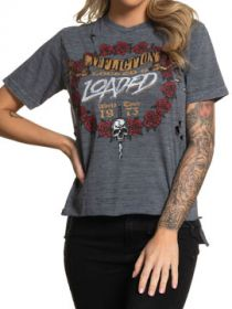 Affliction American Metal Nightrain Skull Dagger Roses Locked Loaded Holes Womens Short Sleeve T-Shirt in Graphite Grey - SIZES XS-L