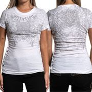 Affliction Filson Fleur Angel Wings Scroll Filiigree Rhinestones Hand Braided Cut Out Holes Sides Womens Short Sleeve T-Shirt in White - SIZES XS-XL