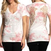 Affliction Amberelle Cross Crochet Lace Cut Out Angel Wings Filigree Rhinestones Womens Short Sleeve V-Neck T-Shirt in White Pink Tie Dye - SIZES XS-XL