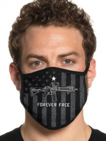Howitzer By Affliction Forever Free Rifle Stars Stripes USA Flag Patriot Military Moto Mens Womens Unisex Face Mask in Black - Washable Reusable