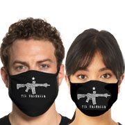 Howitzer By Affliction Til Valhalla Celtic Rifle American Patriot Military Moto Mens Womens Unisex Face Mask in Black - Washable Reusable