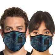 American Fighter by Affliction Wish Geometric Snakeskin UFC MMA Sports Athletic Fashion Mens Womens Unisex Face Mask in Blue - Washable Reusable