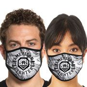 American Fighter Weathers Diamond Swirl Logo UFC MMA Sports Athletic Fashion Mens Womens Unisex Face Mask in White Black - Washable Reusable