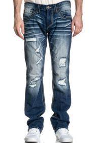 Affliction Ace White Stitch Fleur Pockets Skull Button Fray Holes Moto Biker Mens Slim Straight Denim Jeans in Dark Blue Othello Wash - SIZES 30-42