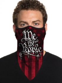 Howitzer By Affliction Painted Freedom We The People American Flag Patriot Military Mens Womens Unisex Bandana Face Mask in Red & Black