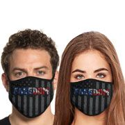 Howitzer By Affliction Freedom Earned American Flag USA Patriot Moto Military Armed Forces Mens Womens Unisex Face Mask in Black - Washable Reusable