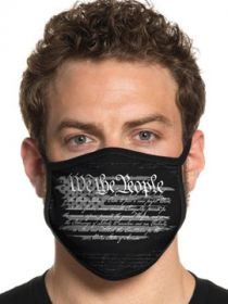 Howitzer By Affliction Perfect Union We The People Constitution Words USA Flag Patriot Mens Womens Unisex Face Mask in Black - Washable Reusable