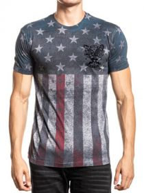 Affliction Chris Kyle American Sniper Freedom Military Spirit Of Warrior Flag Stars Stripes Mens Short Sleeve T-Shirt in Heather Grey - SIZES S-4X
