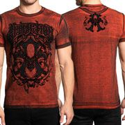 Affliction Iconic Steel Letter A Art Deco Calligraphy Typography Ornate Scroll Filigree Mens Short Sleeve T-Shirt in Red Black Oil Stain - SIZES S-4X