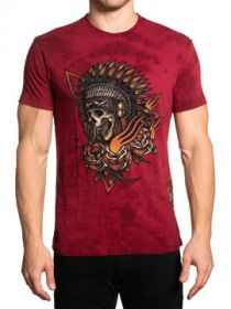Affliction Black Label Sacred Smoke Indian Skull Headdress Roses Arrows Rhinestones Mens Short Sleeve T-Shirt in Red Crystal Tie Dye - SIZES S-3X