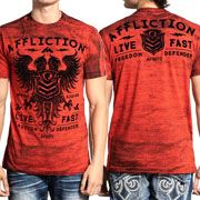 Affliction Live Fast Value Freedom Defender Eagle Shield Emblem Heraldry Coat Of Arms Mens Short Sleeve T-Shirt in Persian Red - SIZES S-4X